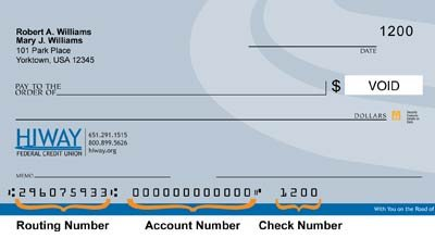 An image of a check from Hiway FCU