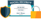 Icon with shield, social security card and padlock