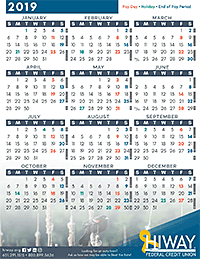 2019 Federal Pay Period Calendar Payroll Calendars | Hiway Federal Credit Union