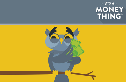 Cartoon owl holding some money