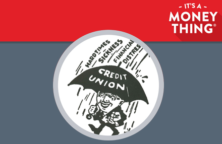 "Cartoon of man protected with a ""Credit Union"" umbrella"