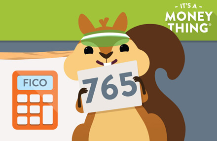 Cartoon squirrel holding card with a credit score