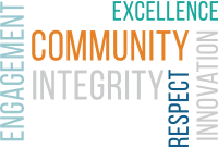 Engagement, Excellence, Community, Integrity, Respect, Innovation