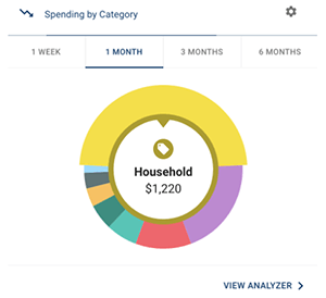 Colored wheel showing spending by category