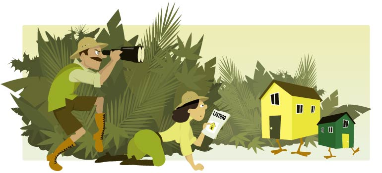 Cartoon of a couple in safari outfits hunting for a house.