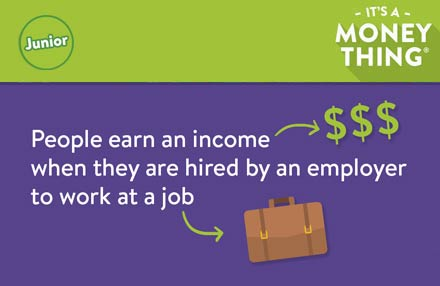 People earn an income when they are hired by an employer to work at a job